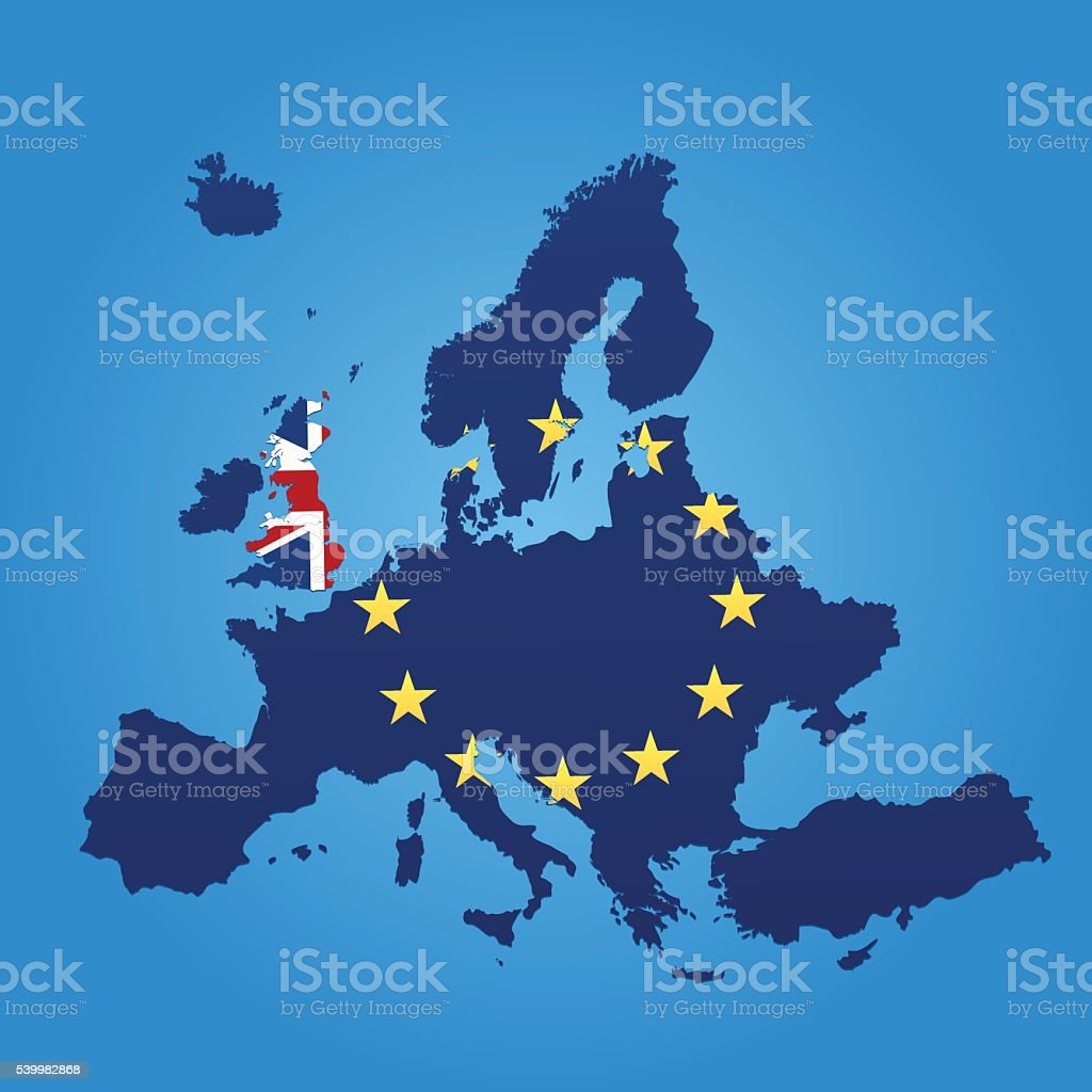 Europe and United Kingdom flag map on blue background vector art illustration