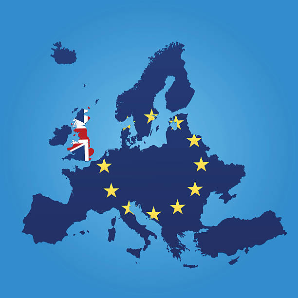 bildbanksillustrationer, clip art samt tecknat material och ikoner med europe and united kingdom flag map on blue background - brexit