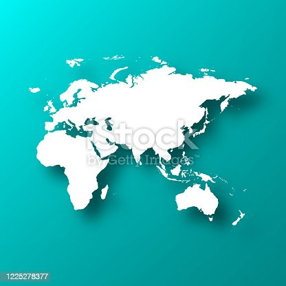 istock Europe, Asia, Africa, Oceania map on Blue Green background with shadow 1225278377