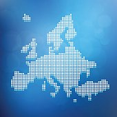 Europe blue dotted map on bubble glowing background