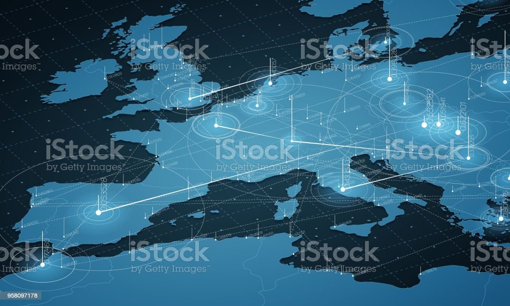 Europe blue map big data visualization. Futuristic map infographic. Information aesthetics. Visual data complexity. Complex europe data graphic visualization. Abstract data on map graph. vector art illustration