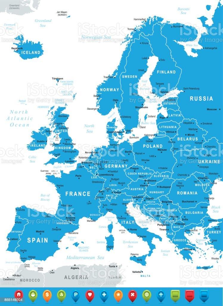 Blaue Landkarte Europas Mit Grenzen Und Navigationssymbole Stock ...