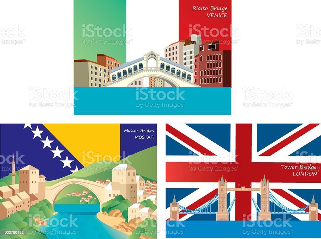Europe Bridge vector art illustration