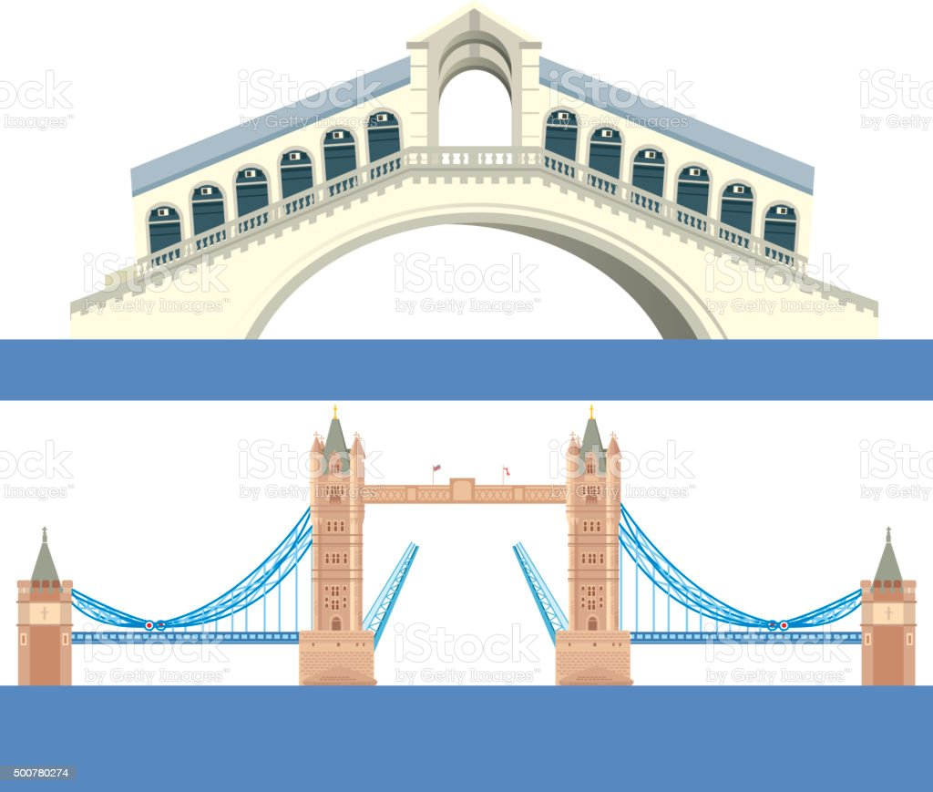 Europe Bridge vector art illustration