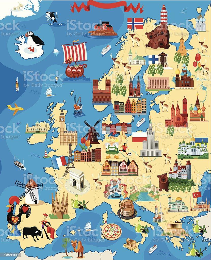 Cartoon Karte Europa – Vektorgrafik