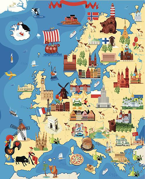 cartoon karte europa - flagge polen stock-grafiken, -clipart, -cartoons und -symbole