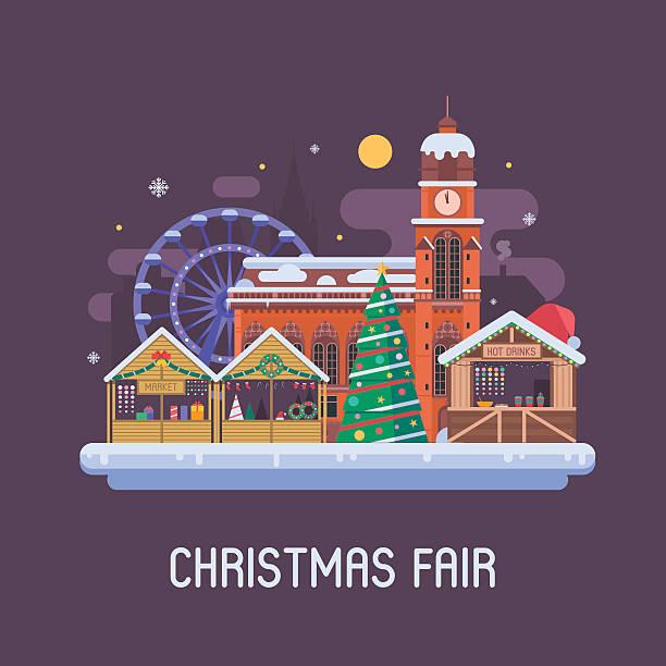 europe christmas fair background - weihnachtsmarkt stock-grafiken, -clipart, -cartoons und -symbole