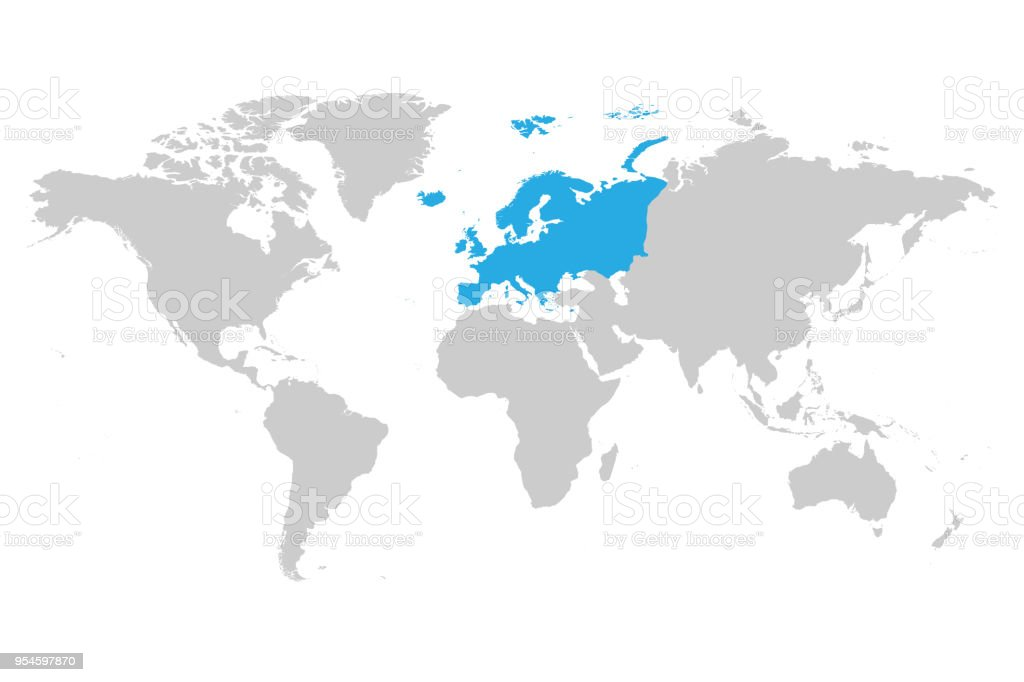 Europe continent blue marked in grey silhouette of world map simple europe continent blue marked in grey silhouette of world map simple flat vector illustration royalty gumiabroncs Image collections