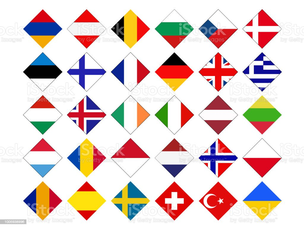Europe countries flags vector art illustration
