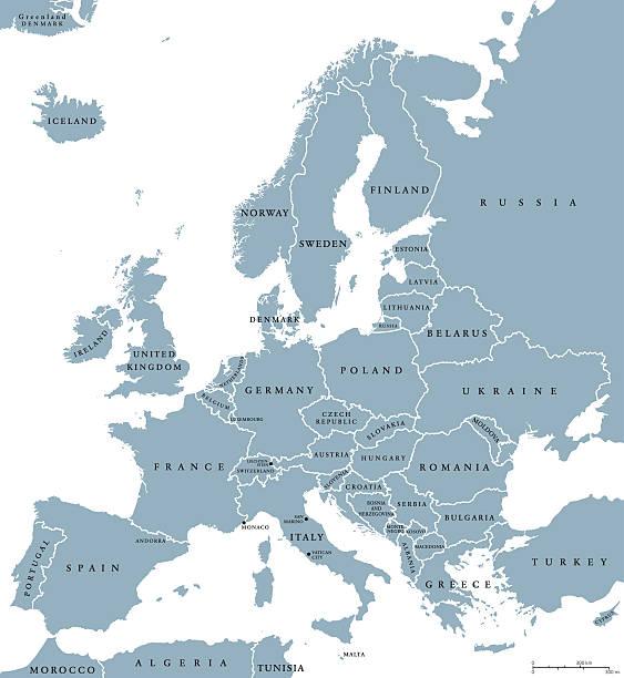 polityczna mapa europy, krajów - białoruś stock illustrations