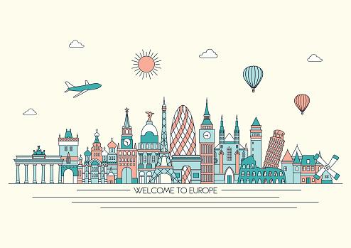 Europe detailed skyline. Vector line illustration. Line art style.
