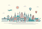 Europe detailed skyline. Vector line illustration. Line art style.