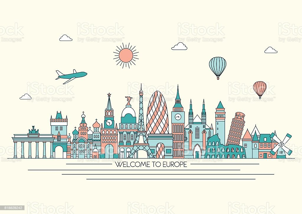 Europe detailed skyline. Vector line illustration. Line art style. vector art illustration