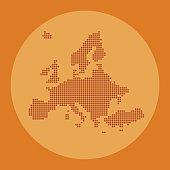 Europe dotted map on orange circle background