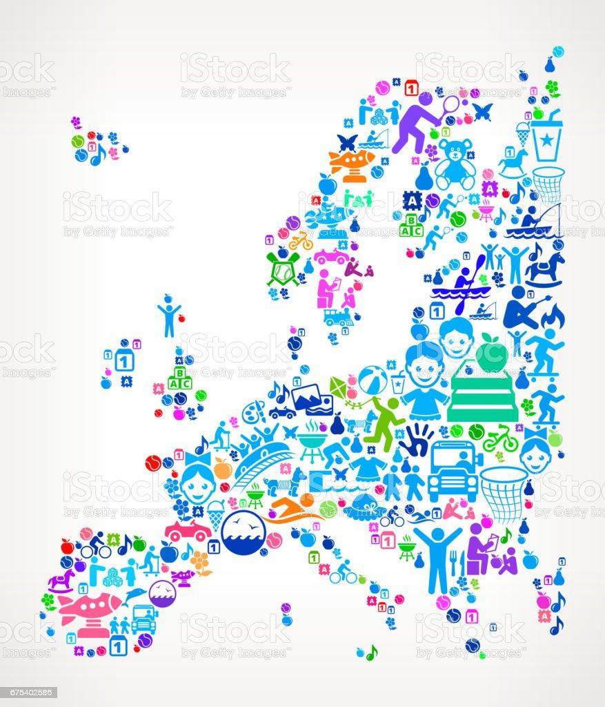 Europe aile tatil ve yaz eğlenceli simgeler arka plan royalty-free europe aile tatil ve yaz eğlenceli simgeler arka plan stok vektör sanatı & abd'nin daha fazla görseli
