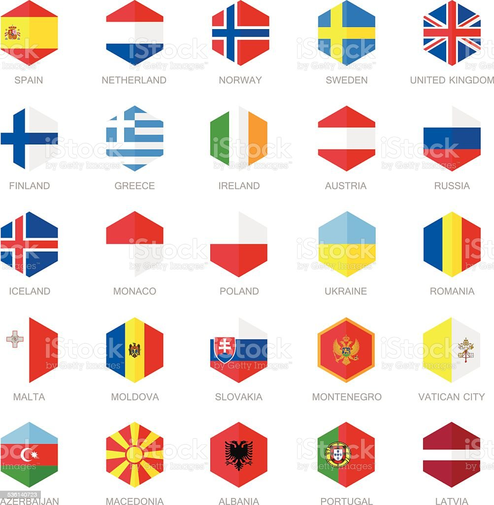 Europe Flag Icons. Hexagon Flat Design. vector art illustration