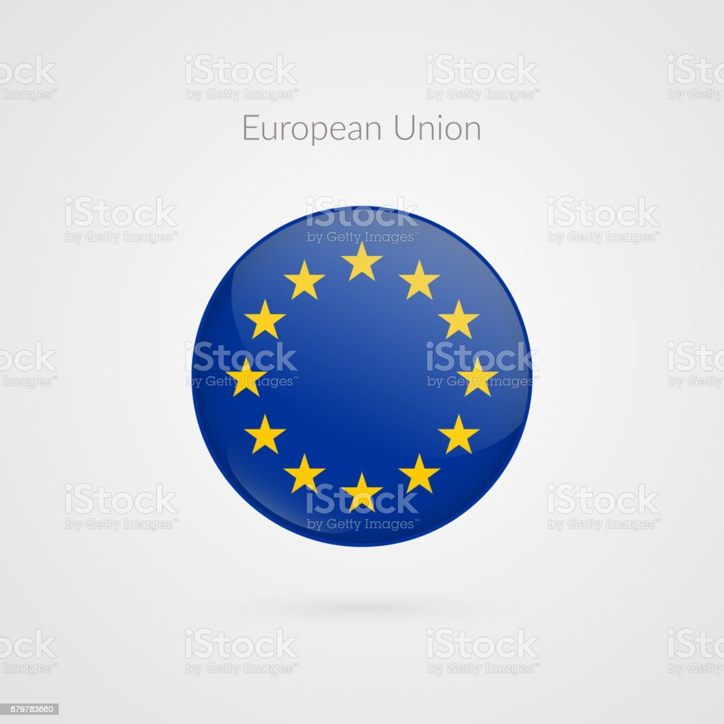 Europe flag vector sign. Isolated European Union circle button symbol. EU illustration icon with starts for presentation, business, marketing project, travel, event, concept, web design, badge vector art illustration