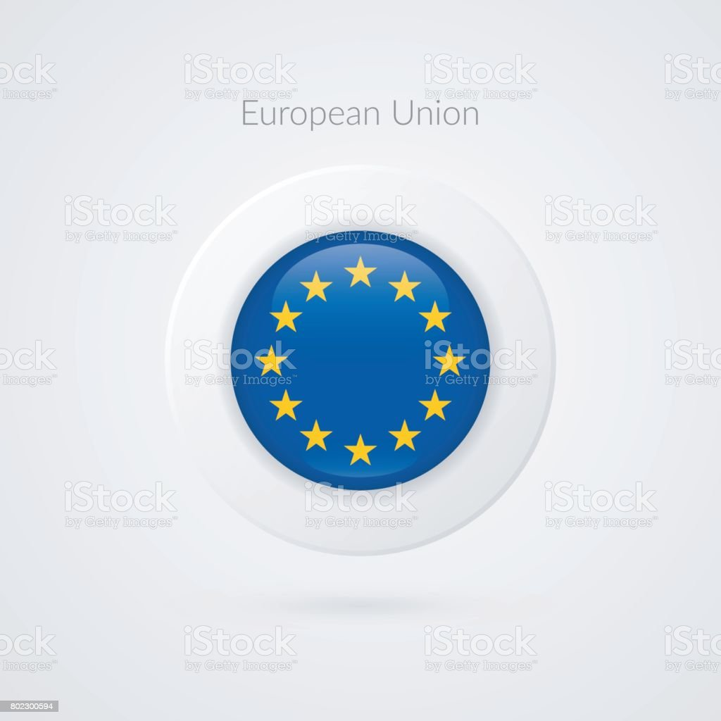 Europe flag vector sign. Isolated European Union circle symbol. EU illustration icon with starts for presentation, business, marketing project, advertisement, travel, concept, web design, badge vector art illustration