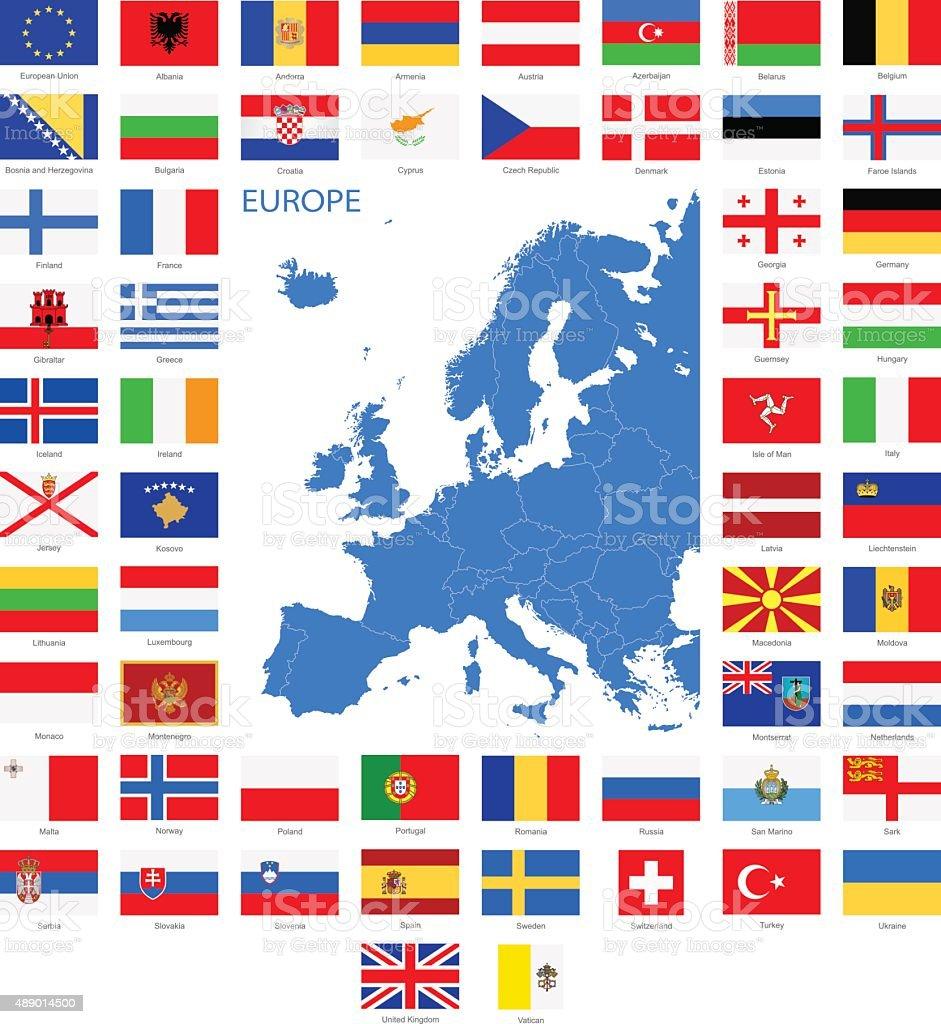 europaflaggen und kartenillustration stock vektor art und