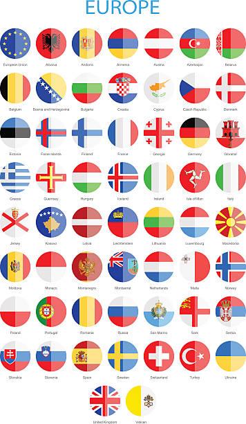 欧州-フラットラウンドのフラッグ-イラストレーション ベクターアートイラスト