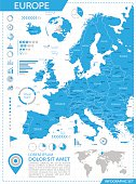 Vector map of Europe with infographic elements