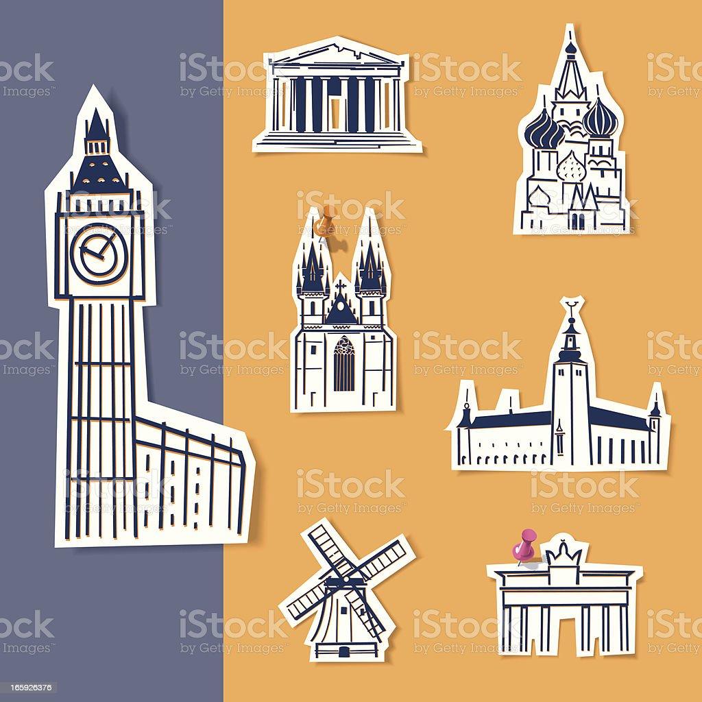 Europe Landmarks royalty-free stock vector art