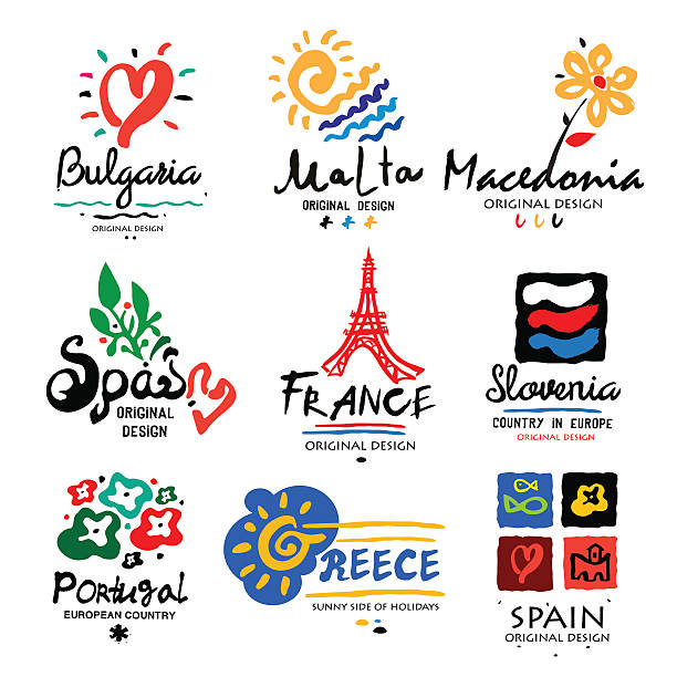 europe logo. logo for travel agencies. - macedonia country stock illustrations, clip art, cartoons, & icons