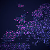 European map abstract dots map concept showing countries currently in the EU.