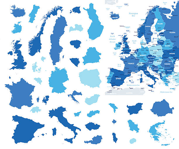 Europe map and country contours - Illustration Vector illustration of Europe map benelux stock illustrations