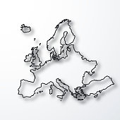 Map of Europe created with a thin black outline and a shadow, isolated on a blank background. Vector Illustration (EPS10, well layered and grouped). Easy to edit, manipulate, resize or colorize. Please do not hesitate to contact me if you have any questions, or need to customise the illustration. http://www.istockphoto.com/portfolio/bgblue