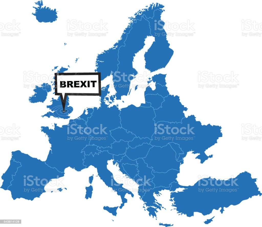 Europe Map Blue With Brexit Label On United Kingdom Stock Vector - United kingdom europe map