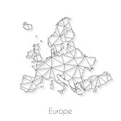 Europe map created with a mesh of thin black lines and a light shadow, isolated on a blank background. Conceptual illustration of networks (communication, social, internet, ...). Vector Illustration (EPS10, well layered and grouped). Easy to edit, manipulate, resize or colorize.