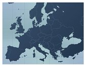 A dark blue Europe map. Good for your geographical presentations, websites and for printing.