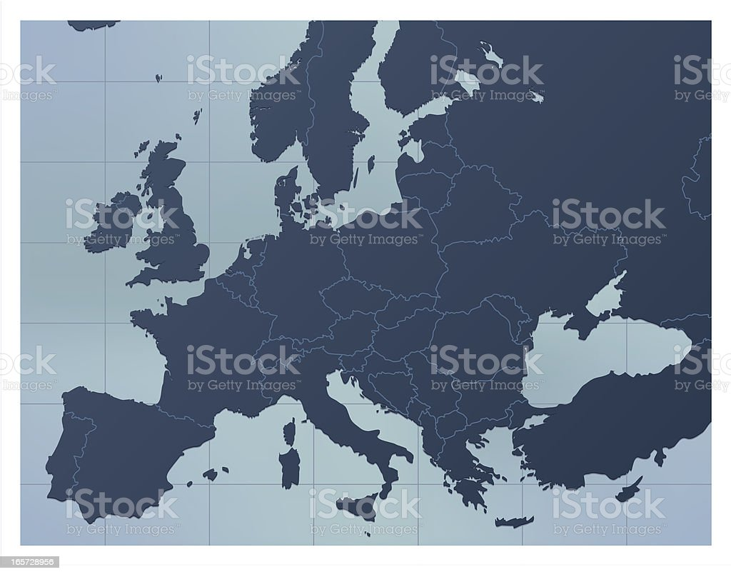 Europe Map Dark blue vector art illustration