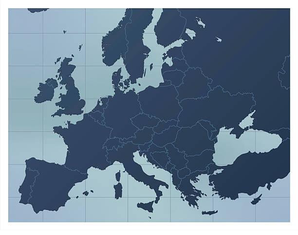 illustrations, cliparts, dessins animés et icônes de europe carte bleu foncé - carte europe
