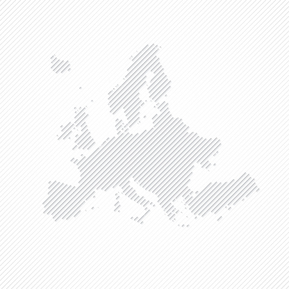 Europe map designed with lines on white background