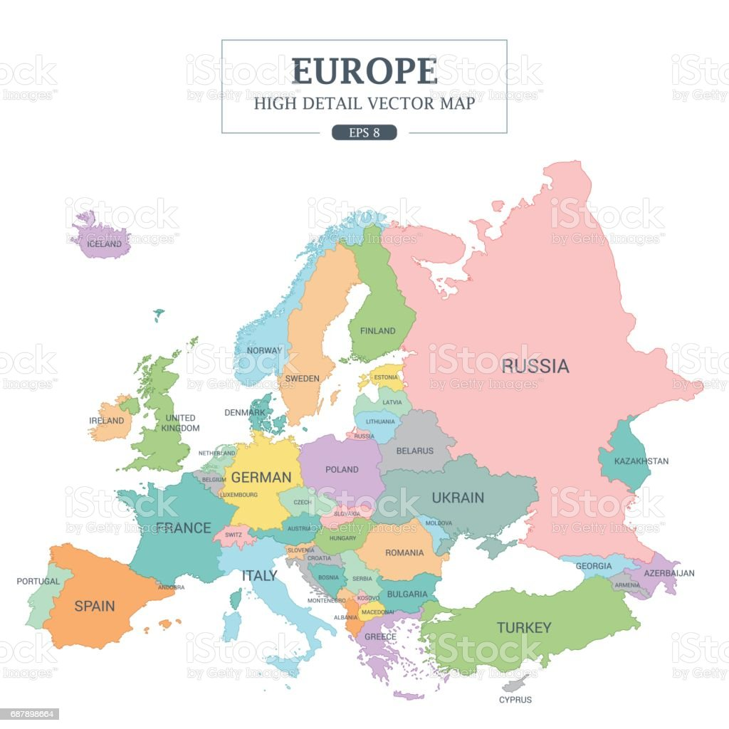 Europe map full color high detail separated all countries vector europe map full color high detail separated all countries vector illustration royalty free europe map gumiabroncs Images