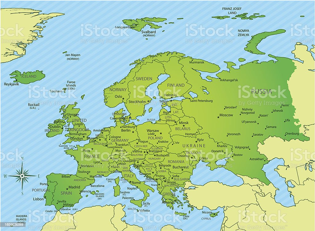Europe Map Green With Borders And Names Stock Vector Art - Norway vegetation map