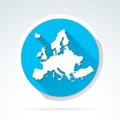 Europe map icon, Flat Design, Long Shadow