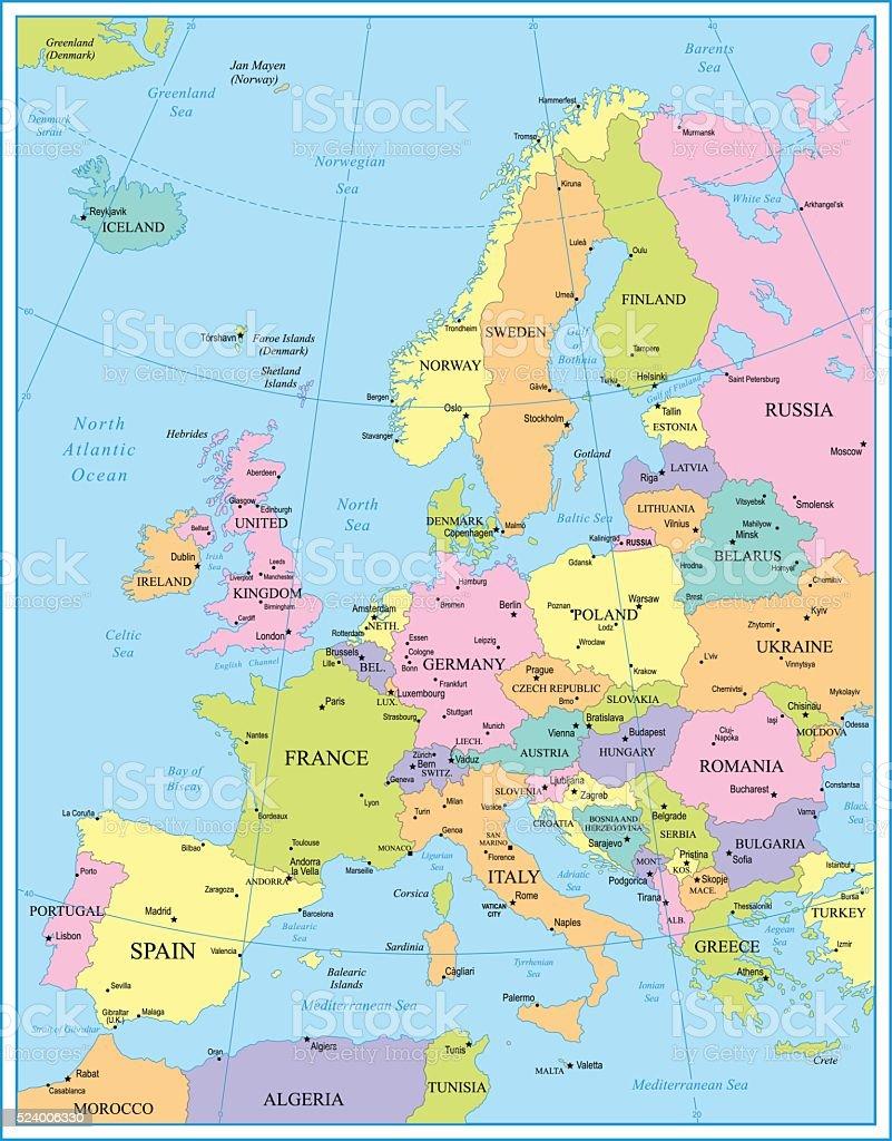 Europe Map - illustration vector art illustration