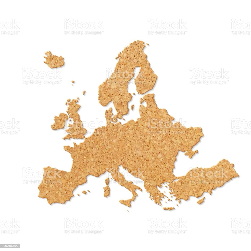 Europe Map In Cork Board Texture On White Background Stock Vector