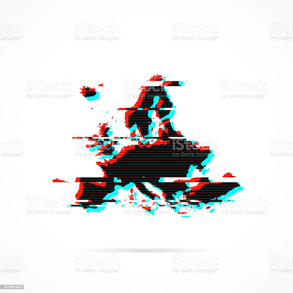 Europe Map In Distorted Glitch Style Modern Trendy Effect Stock ...