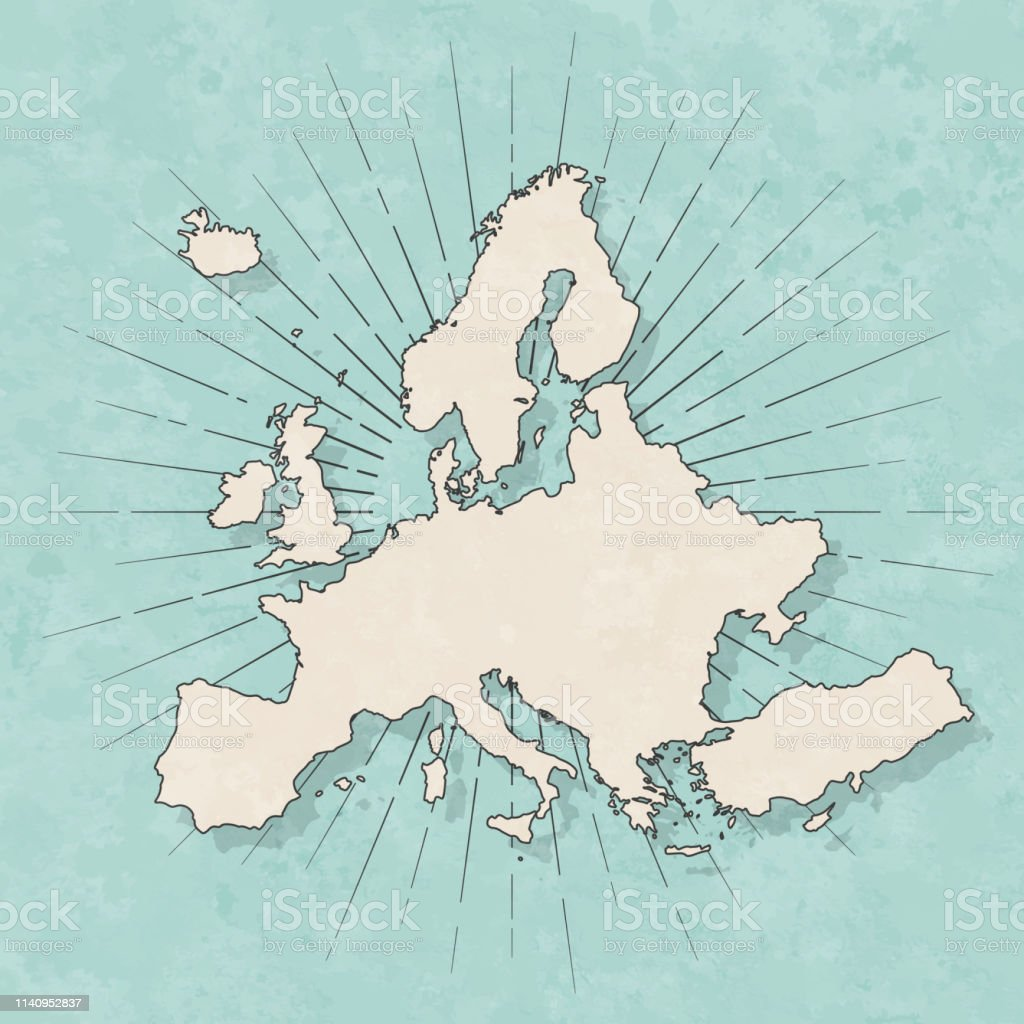 Map of Europe in a trendy vintage style. Beautiful retro illustration...