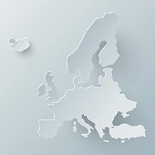 Europe map in white and shadow effect