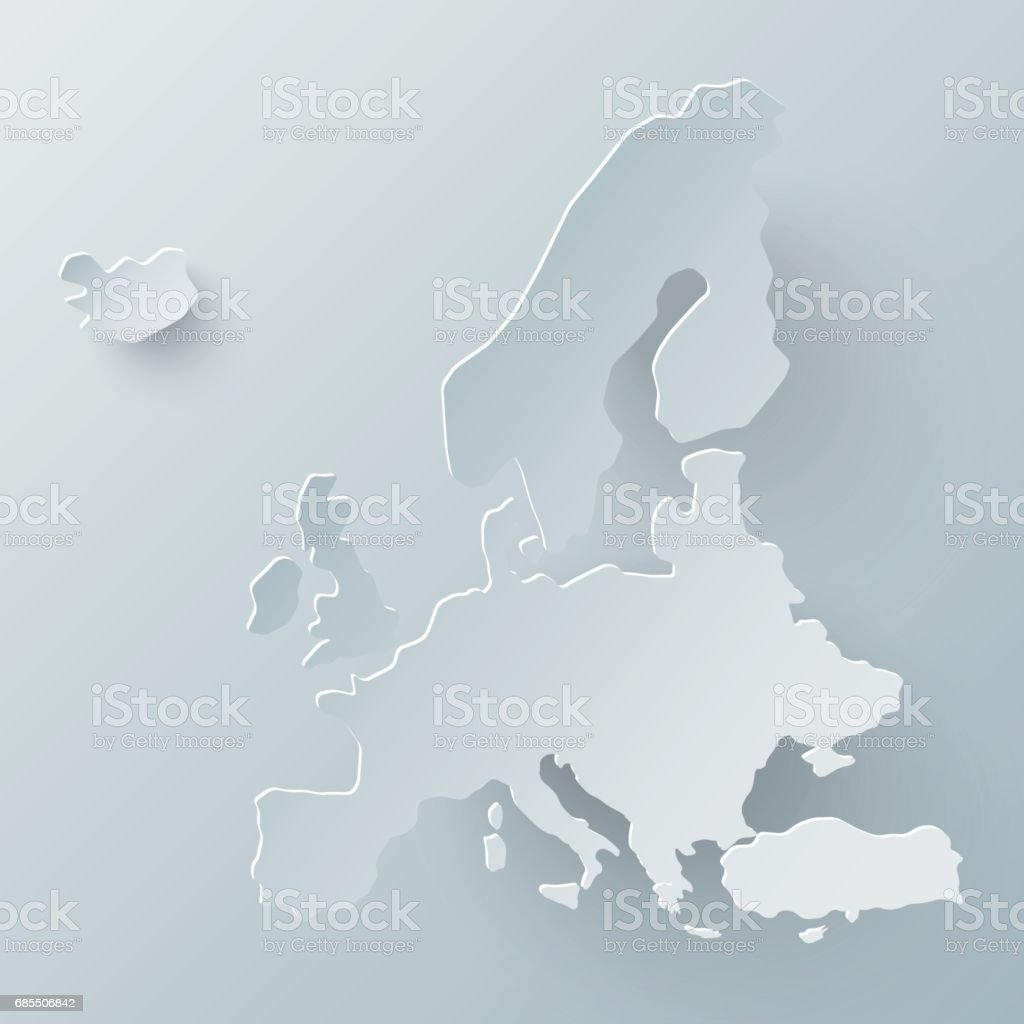 Europe map in white and shadow effect vector art illustration