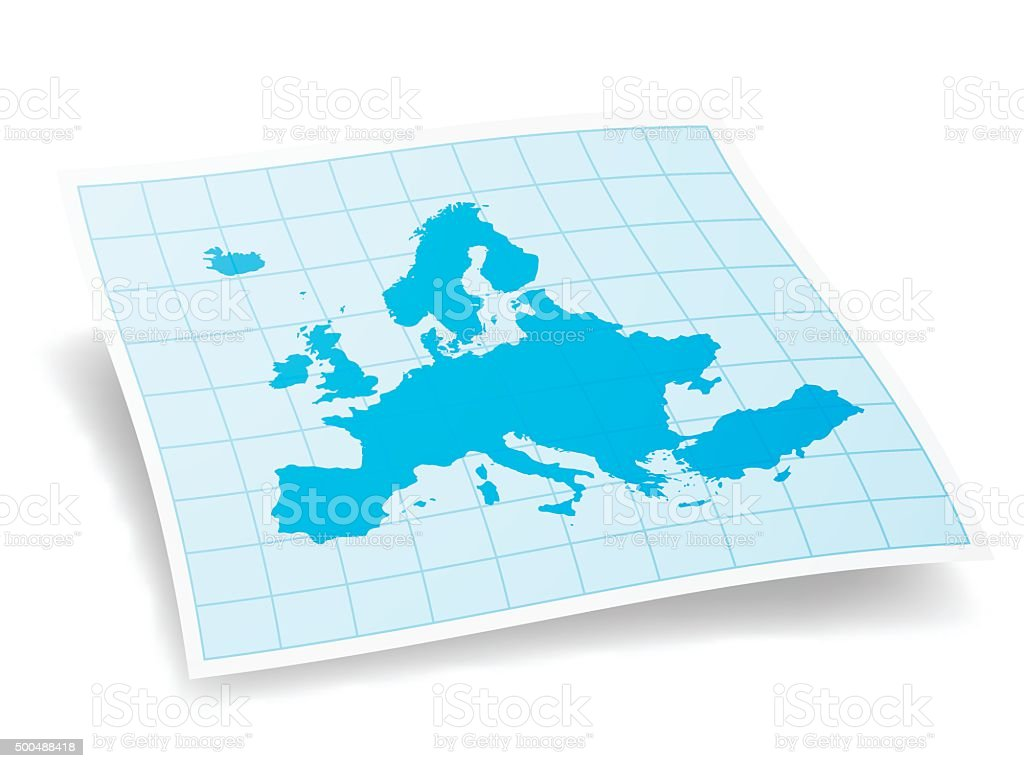 Europe Map isolated on white Background vector art illustration
