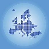 Europe map made of dots with EU flag blue background