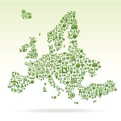 Europe map made of ecology icons