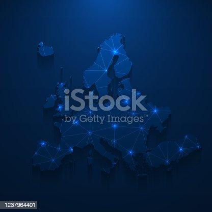 istock Europe map network - Bright mesh on dark blue background 1237964401
