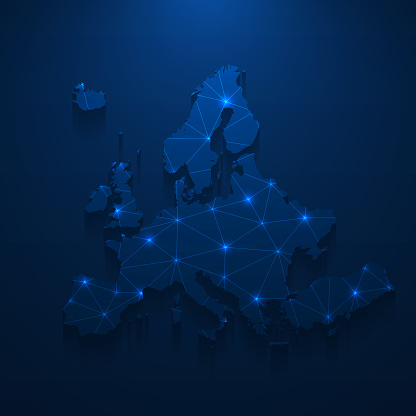 Map of Europe created with a mesh of thin bright blue lines and glowing dots, isolated on a dark blue background. Conceptual illustration of networks (communication, social, internet, ...). Vector Illustration (EPS10, well layered and grouped). Easy to edit, manipulate, resize or colorize.